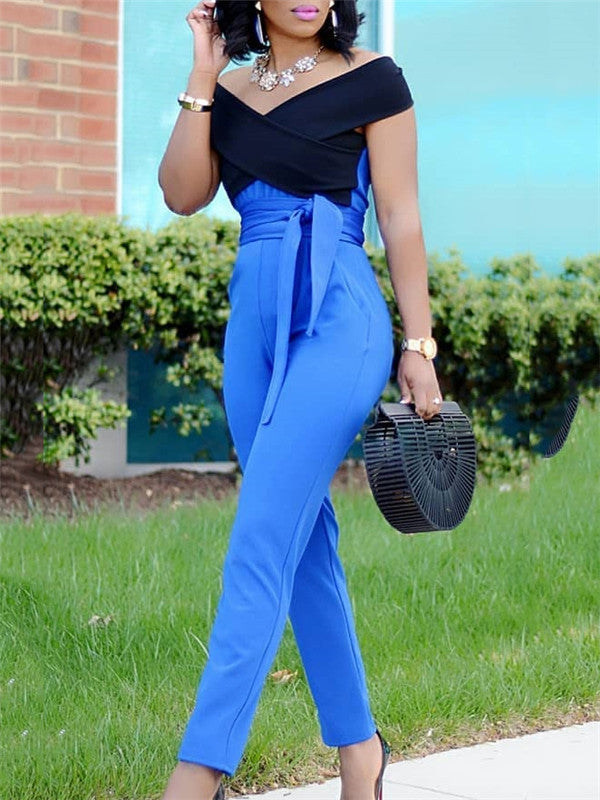Off Shoulder Two-tone Jumpsuit