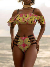 Load image into Gallery viewer, Print Ruffle Cutout Bikini
