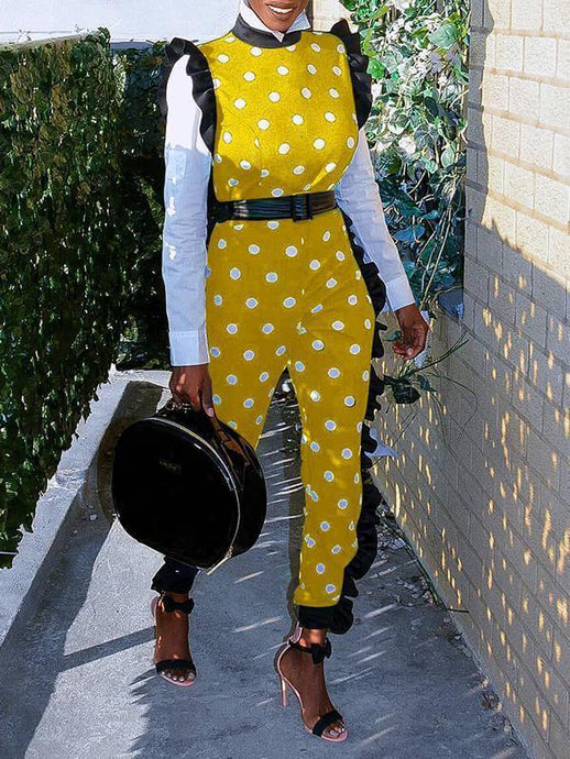 Dot Frilled Jumpsuit