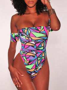 Abstract-print Lacing Back One Piece
