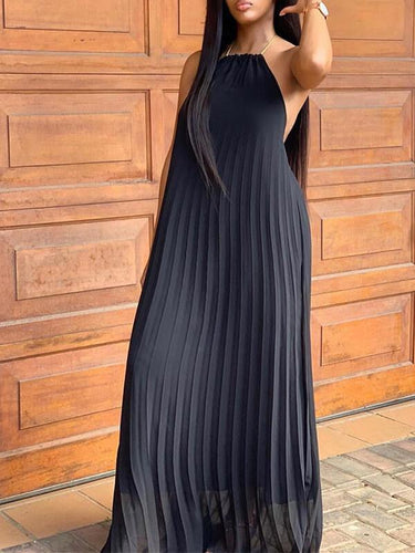 Pleated Halter Chiffon Dress