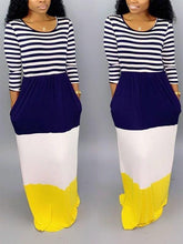 Load image into Gallery viewer, Stripe Combo Colorblock Maxi Dress