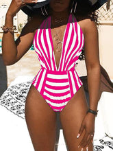 Load image into Gallery viewer, Stripe Halter Monokini