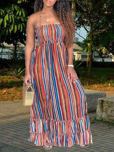 Halter Cut-out Back Stripe Maxi Dress