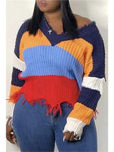 Load image into Gallery viewer, V Neck Destroyed Colorblock Sweater (1428533444725)