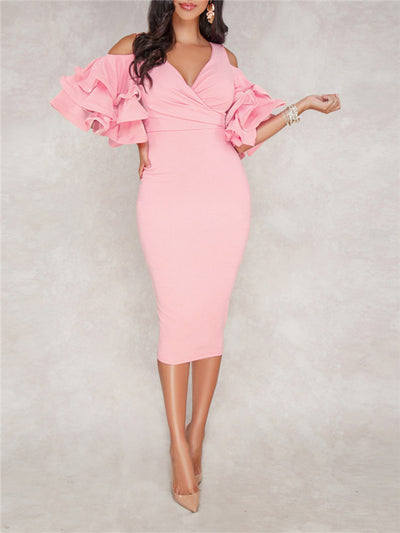 Cold Shoulder Ruffle Sleeve Split Midi Dress