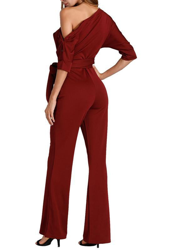 Plain One Open Shoulder Front Tie Jumpsuit