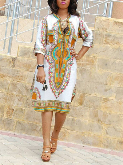 Dashiki Mandarin Collar Shirt Dress