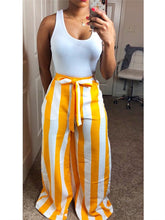 Load image into Gallery viewer, Striped Wide Leg Pants with Belt