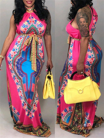 Dashiki Halter Belted Maxi Dress