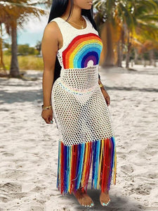 Rainbow Fringe Mesh Cover Up
