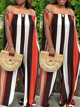 Load image into Gallery viewer, Off-the-shoulder Wide Leg Stripe Jumpsuit