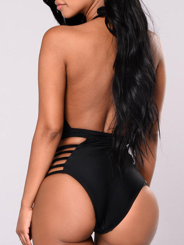 Black Lacing One-piece Swimsuit