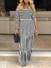 Load image into Gallery viewer, Stripe Ruffle Maxi Dress