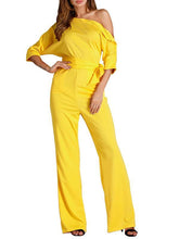 Load image into Gallery viewer, Plain One Open Shoulder Front Tie Jumpsuit