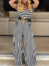 Load image into Gallery viewer, Stripe Crewneck Jumpsuit
