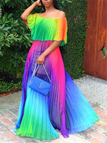 Rainbow Off Shoulder Pleated Top & Skirt Set