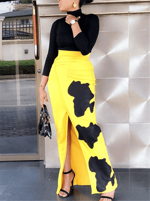 African Map Slit Skirt