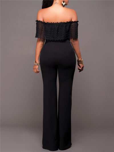Solid Fold-over Bardot Jumpsuit