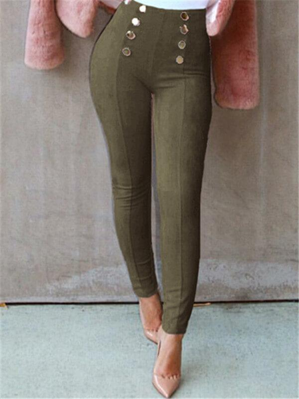 Button Suede Nap Leggings