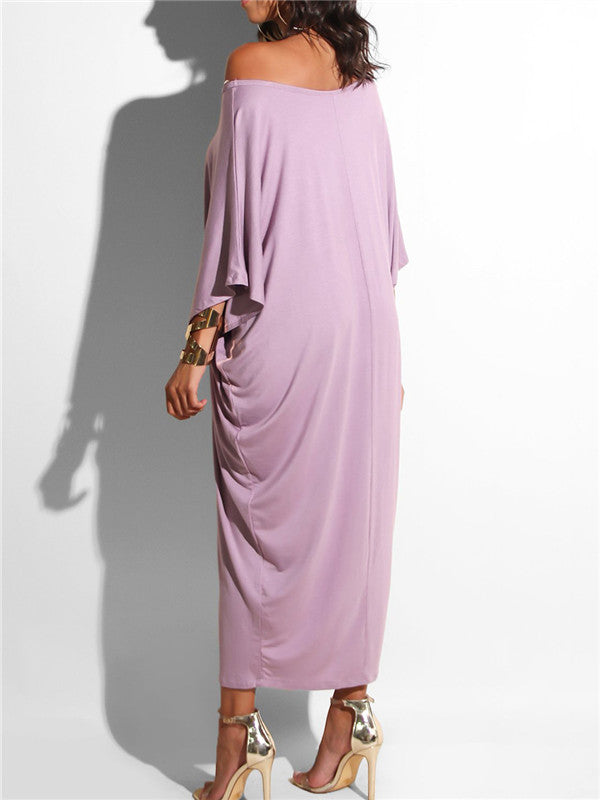 One-shoulder Solid Loose Maxi Dress