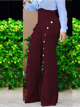 Load image into Gallery viewer, High Waist Buttoned Slit Wide-leg Pants