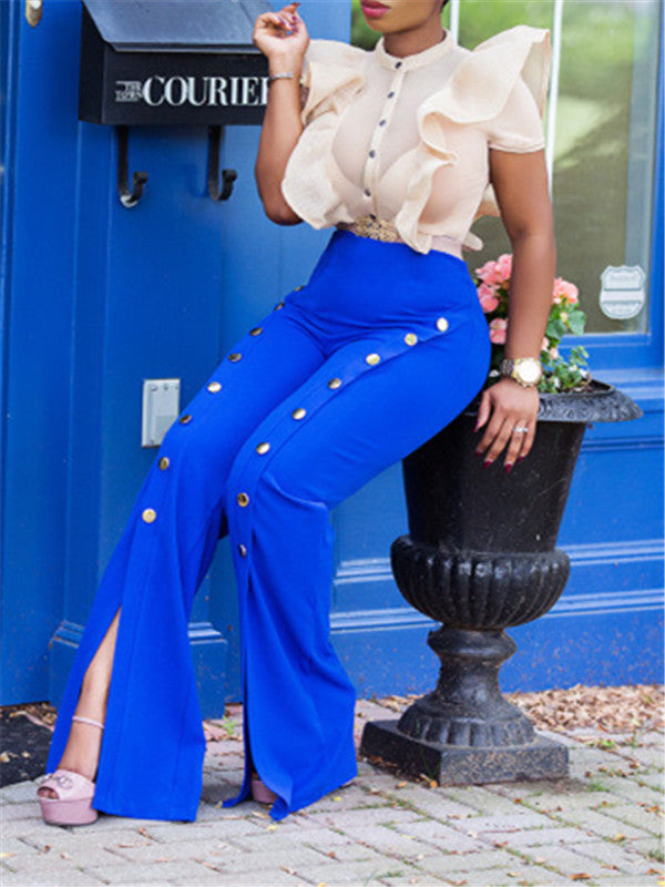 High Waist Buttoned Slit Wide-leg Pants