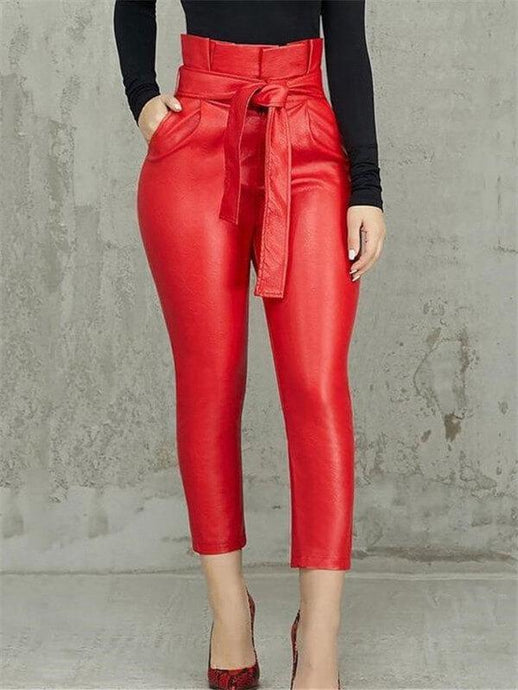 High Waist PU Pants With Belt (1504461193261)