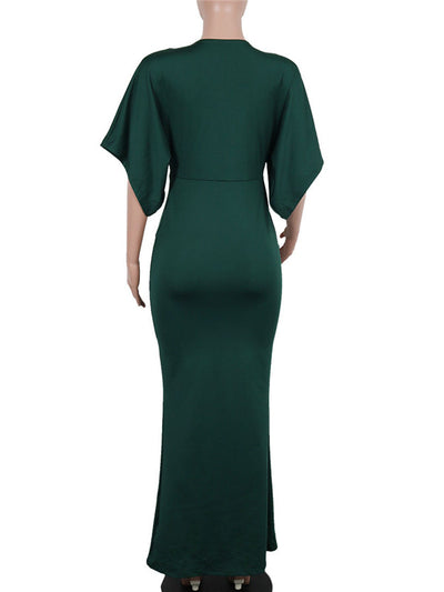 V Neck Lotus Leaf Sleeve Bodycon Dress