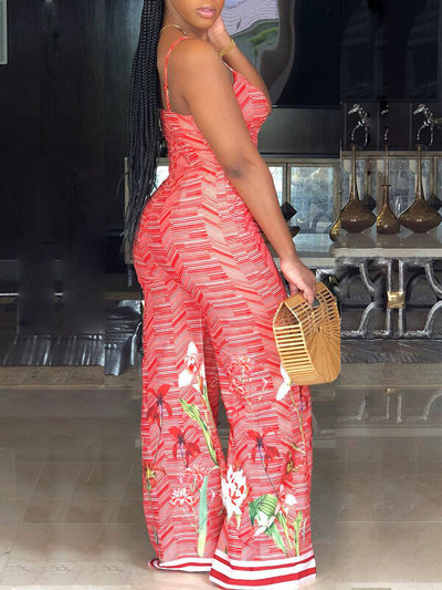 Floral Printed Spaghetti Wide Leg Jumpsuit