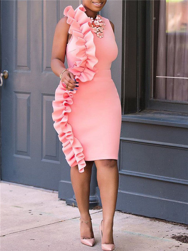 Pink Ruffles Bodycon Dress