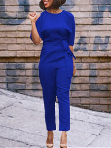 Cold Shoulder Jumpsuit with Belt