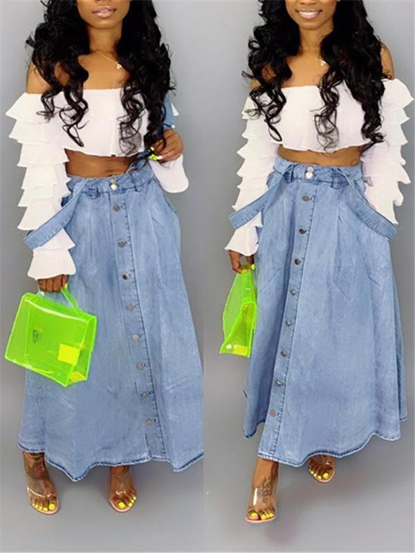 Button-Down Suspender Denim Skirt