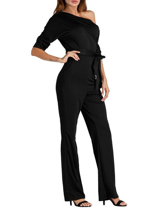 Plain One Open Shoulder Front Tie Jumpsuit - Clearance