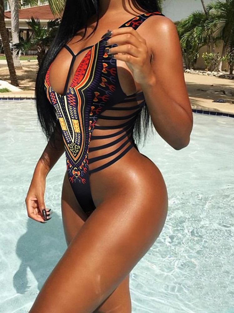 Printed Ladder Side One Piece Swimsuit