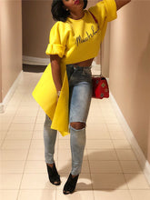 Load image into Gallery viewer, Yellow Letter Printed Asymmetric T-shirt