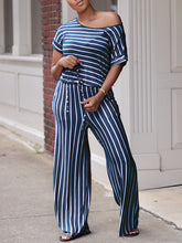 Load image into Gallery viewer, Stripe Drawstring Jumpsuit