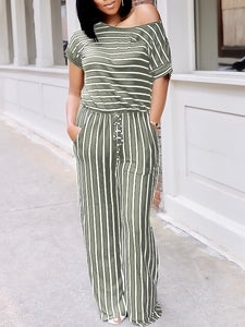 Stripe Drawstring Jumpsuit