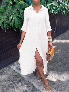 Everyday Tabbed Sleeve Shirt Dress