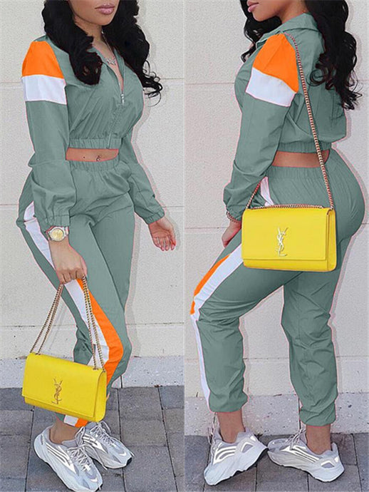 Colorblock Jacket & Side-Stripe Pants Set