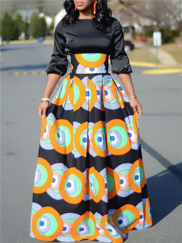 Dot Printed Pleated Maxi Skirt