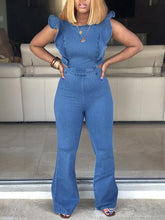 Load image into Gallery viewer, Frilled Denim Jumpsuit
