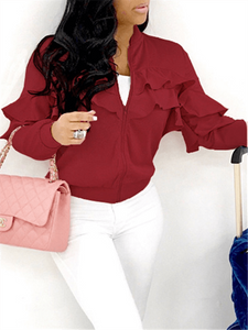 Solid Tiered Ruffle Jacket