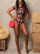 Load image into Gallery viewer, African Print Zip-Front Bikini