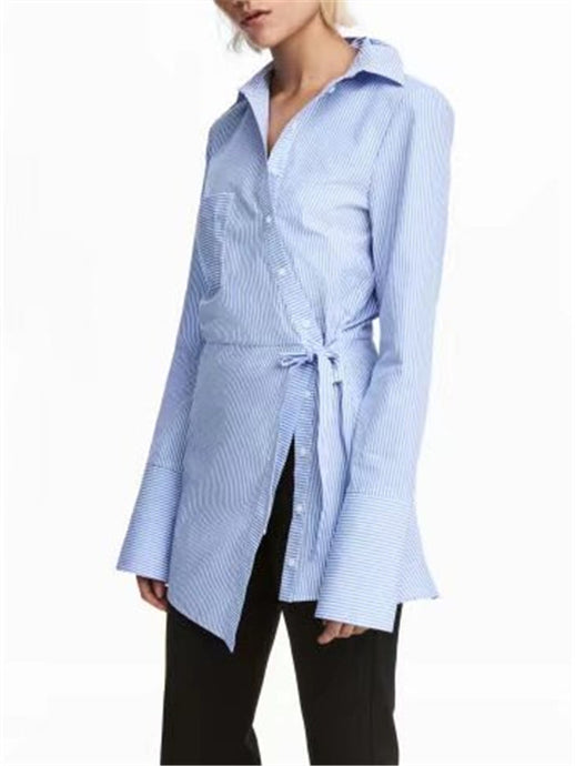Belted Long Sleeve Light Color Shirt
