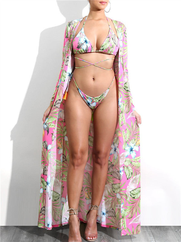 Three-piece Floral Printed Swimwear