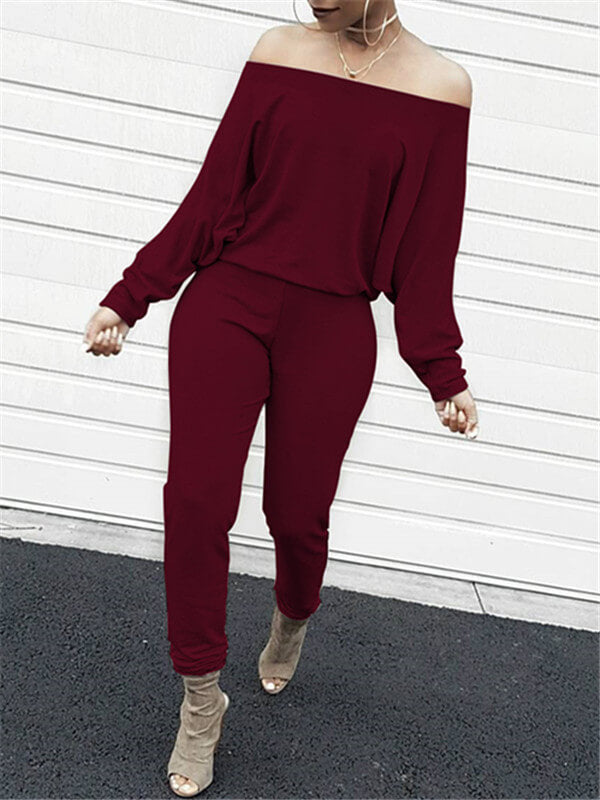 Off Shoulder Solid Color Jumpsuit