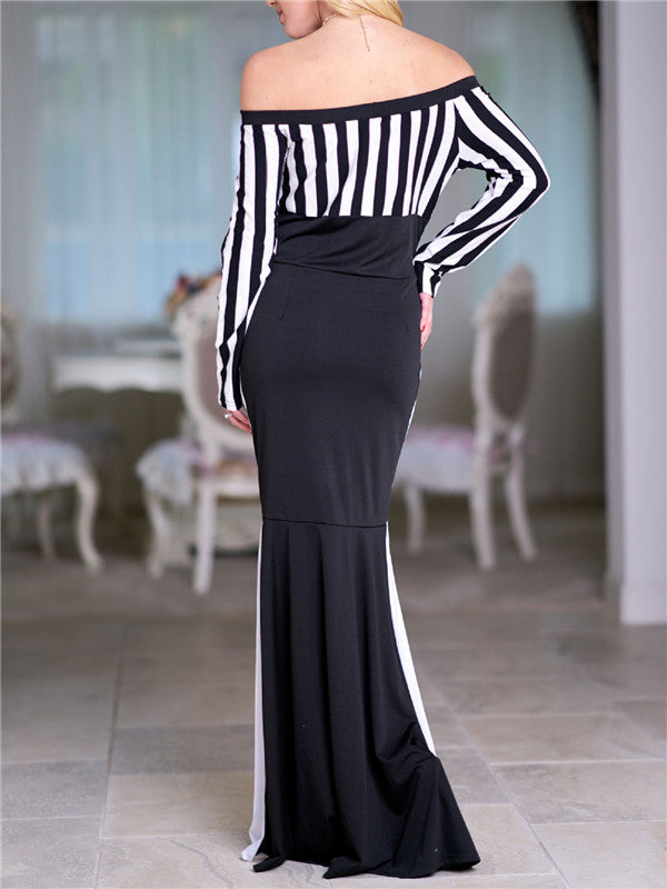 Striped Bardot Contrast Maxi Dress