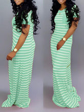 Load image into Gallery viewer, Striped Maxi Tee Dress