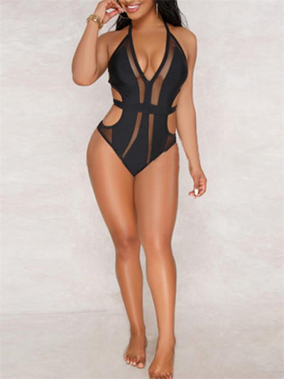 Bandage Mesh Deep V Swimsuit